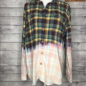 Upcycled Bleached Distressed Plaid Flannel Size L